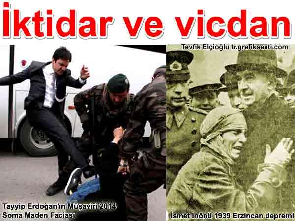 iktidar ve vicdan İsmet İnönü Tayyip Erdoğan 2014 Soma maden faciası 1939 Büyük Erzincan Depremi ve idarecilerin halka yaklaşımındaki farklar Yazan: Tevfik Elçioğlu